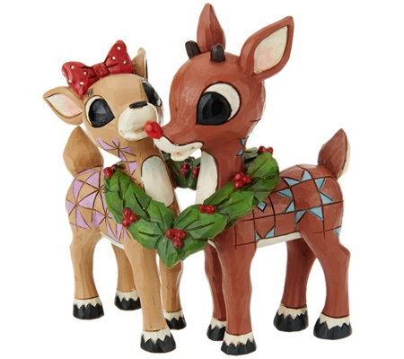 Jim Shore Rudolph and Clarice with Wreath Figurine