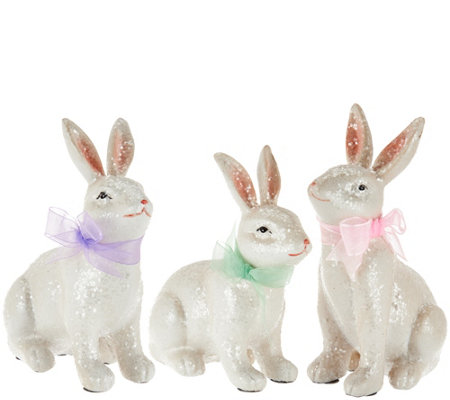 Set of 3 Sugared Bunnies with Ribbons