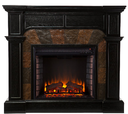 Quincy Electric Fireplace, Ebony Finish