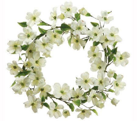 "22"" White Dogwood Wreath by Valerie"