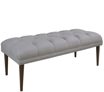 Skyline Furniture Linen Tufted Bench with ConeLegs - H288369