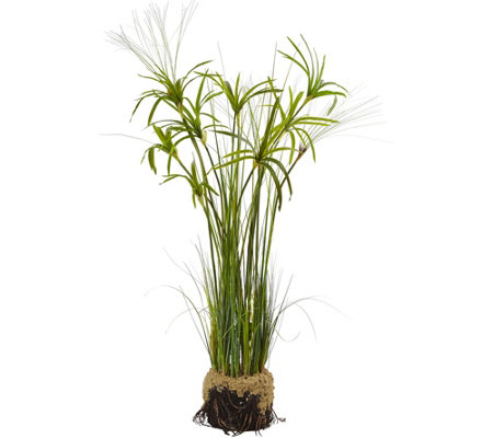 Papyrus Plant with Faux Soil by Nearly Natural