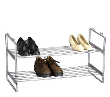 Household Essentials Stackable 2-Tier Shoe Rack-Chrome Finish