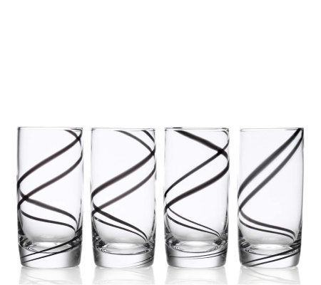 Luigi Bormioli Set of 4 Black Swirl 18-oz Beverage Set