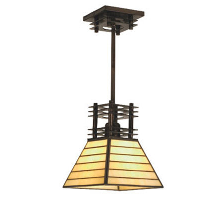 "Tiffany Style 8"" Watersedge Mahogany Bronze Mini Pendant Light"