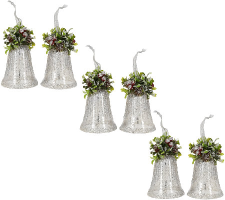 Set of 6 Vintage Bells with Holly and Ribbon by Valerie
