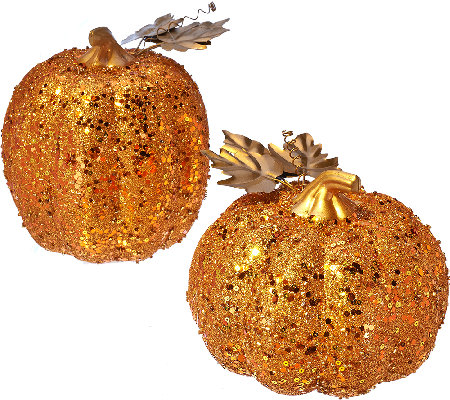 Set of 2 Sequined Graduated Pumpkins by HomeReflections