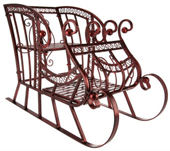"Plow and Hearth 17"" Indoor Outdoor Metal Decorative Sleigh - H208570"