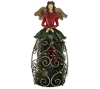 "Plow & Hearth 16"" Illuminated Angel with Greenery and Pinecones - H208970"