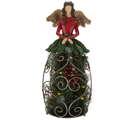 "Plow & Hearth 16"" Illuminated Angel with Greenery and Pinecones"