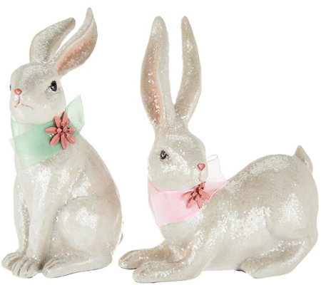 Set of 2 Sitting and Standing Sugared Bunnies with Ribbons
