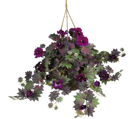 Morning Glory Hanging Basket by Nearly Natural