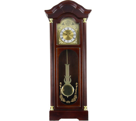 "Bedford Clock 33"" Antiqued Cherry Oak Finish Wall Clock/Chime"