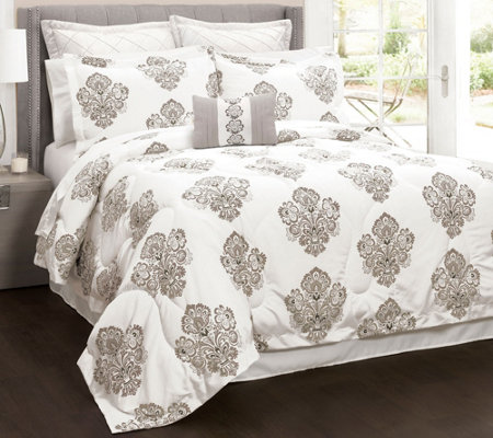 Damask 6-Piece Full/Queen Comforter Set by LushDecor