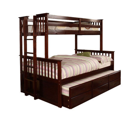 University I Dark Walnut Finish Twin/Full Bunkbed