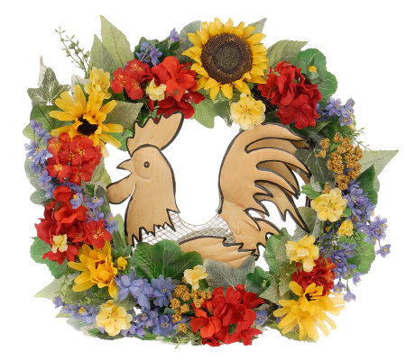 20 Quot Rooster Wreath W Sunflowers And Geraniums By Valerie