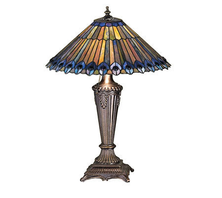 "Tiffany Style 23"" Peacock Cone Table Lamp"