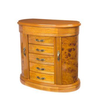 Mele & Co Burlwood Oak-Finish Jewelry Box