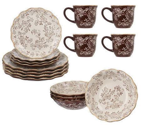 Temp-tations Floral Lace 16-piece Dinnerware Service for 4