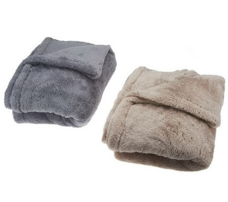 "Berkshire Set of 2 Super Soft Mega 55""x70"" Fluffie Throws"