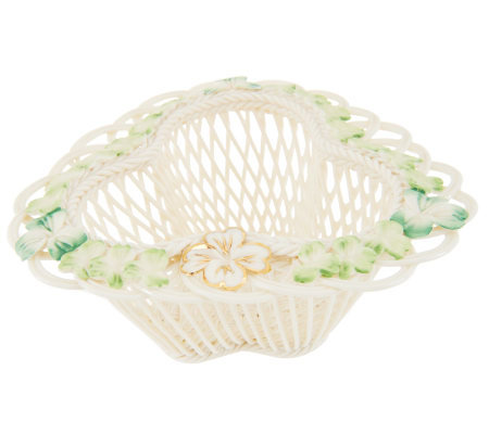 Belleek Basketweave Shamrock Garden Basket