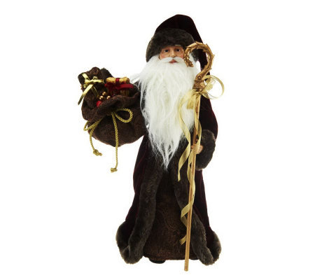 "18"" Victorian Father Christmas Figure with Faux Fur Trim"