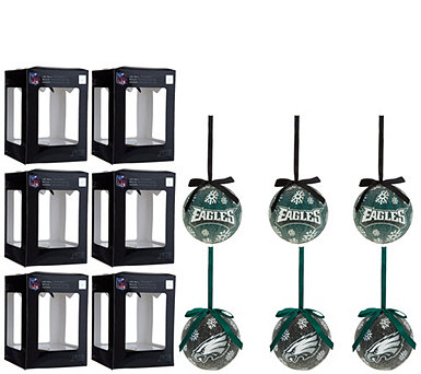 NFL S/6 Light Up Ball Ornaments with Timer and Gift Boxes - H212071