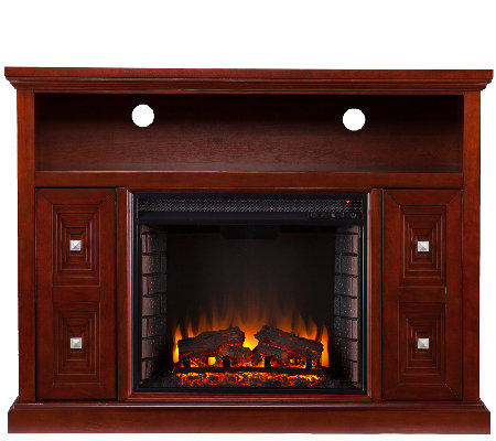 Sadler Media Console/Stand Electric Fireplace,Cherry Finish