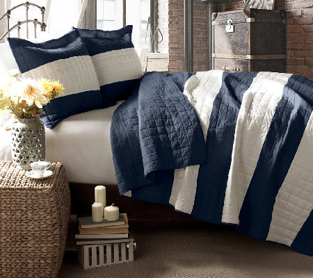 Berlin Stripe Navy 3-Piece Full/Queen Quilt Set by Lush Decor