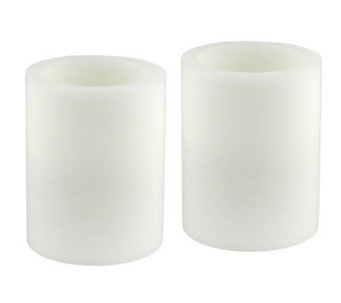 Pacific Accents Set of 2 4x5 White Flameless Candle Pillars - H348971