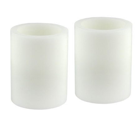 Pacific Accents Set of 2 4x5 White Flameless Candle Pillars