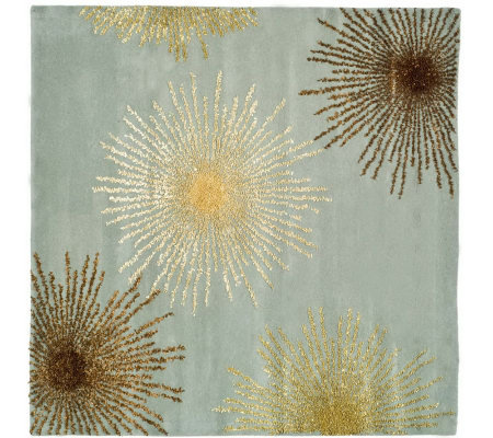 Soho 6' Square Abstract Handtufted Wool/ViscoseBlend Rug