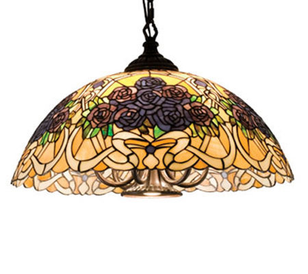 "Tiffany Style 22""W Rose Bouquet Swag Pendant Light"