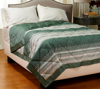 Northern Nights Fair Isle 400TC Extra Warmth QN Reversible Down Alt. Blanket - H206972