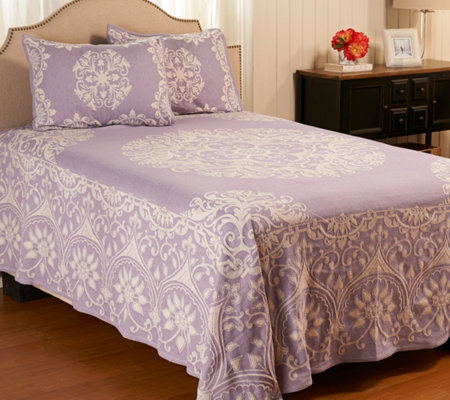 Medallion Jacquard 100% Cotton QN Bedspread with Shams