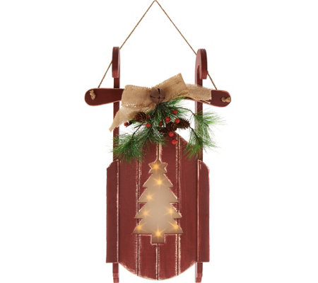 Plow and Hearth Wooden Sled w/ Illuminated Holographic Cut Out Design
