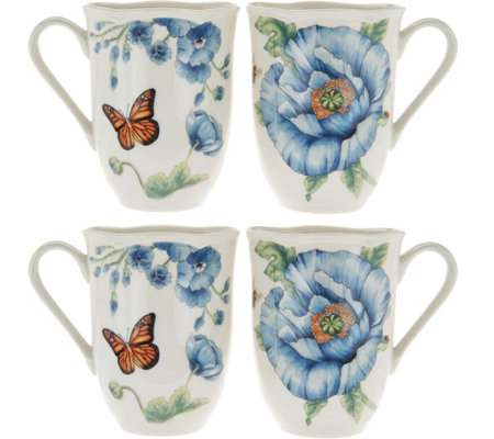 Lenox Butterfly Meadow Set of 4 Dinner Mug Set