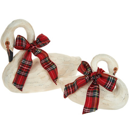 Set of 2 Decorative Swans with Bows by Valerie