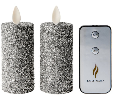 Luminara Set of (2) Vintage Glitter Votives & Remote