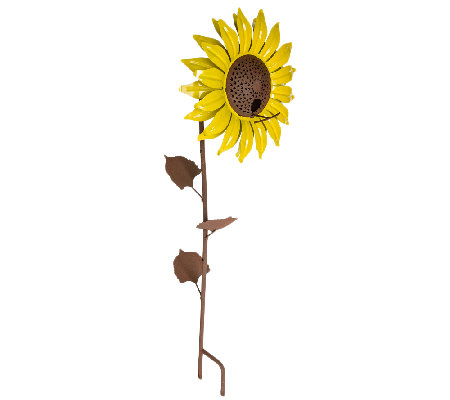Desert Steel Sunflower Garden Stake and Bird Feeder