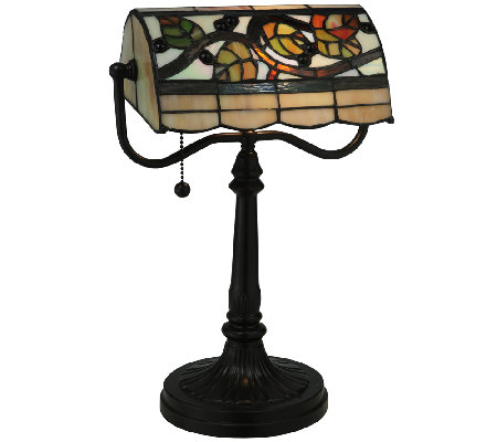 Meyda Tiffany-Style Vineyard Banker's Lamp