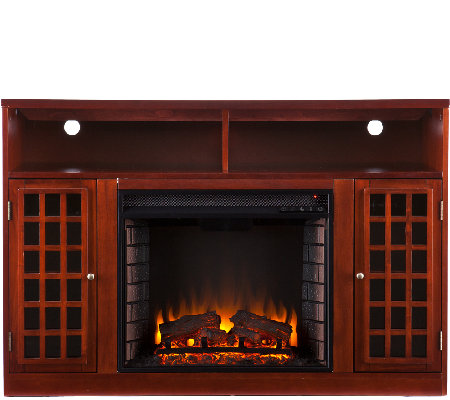 Bergen Media Console Electric Fireplace - Mahogany Finish