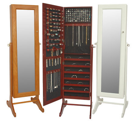 """As Is"" Gold & Silver Safekeeper Mirrored Jewelry Cabinet"