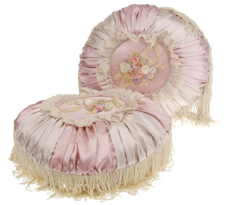 Victorian Style Set Of 2 Round Decorative Pillows With Fringe