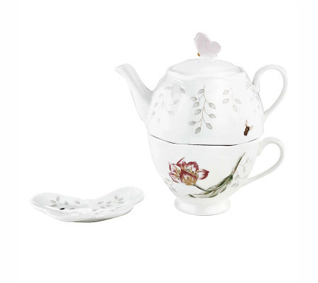 Lenox Butterfly Meadow Stacked Tea Set with TeaBag Holder
