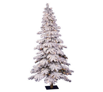 6' Flocked Spruce Prelit Tree by Vickerman- Clear - H171473