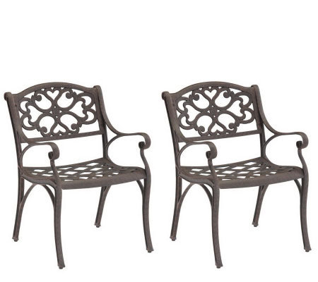 Home Styles Cast-Aluminum Outdoor Armchairs - Set of 2
