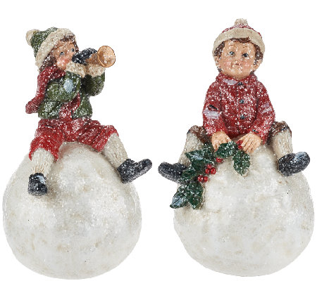 Set of 2 Kids Sitting on Snowballs by Valerie