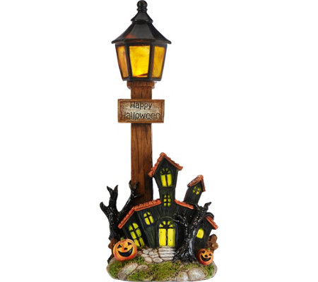 Lit Lampost Luminary with Harvest Scene by Home Reflections