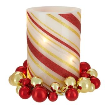 Lightscapes Swirl Striped Flameless Candle with Ornament Ring